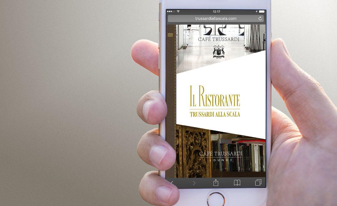 Versione mobile del nuovo sito web di Trussardi alla Scala